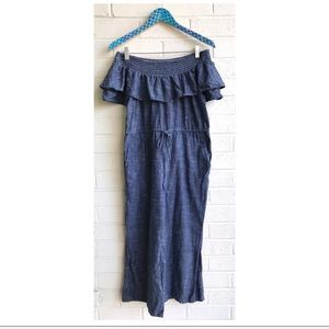 dRA Los Angeles Chambray Off Shoulder Jumpsuit